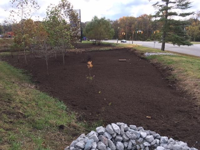 After mulch installation bioretention systems project in Nashville, TN