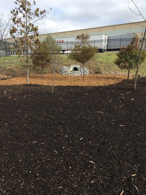 Northstar bioretention systems project in Nashville, TN after mulch stabilization